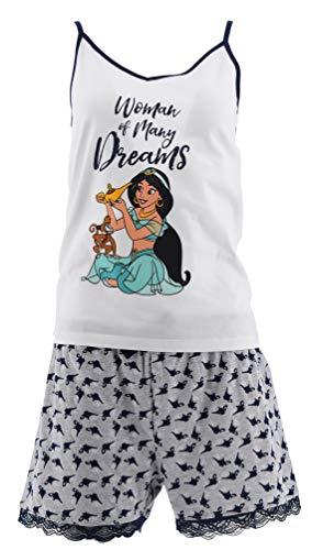 Aladdin Mujer Pijama Corto (Blanco,S)