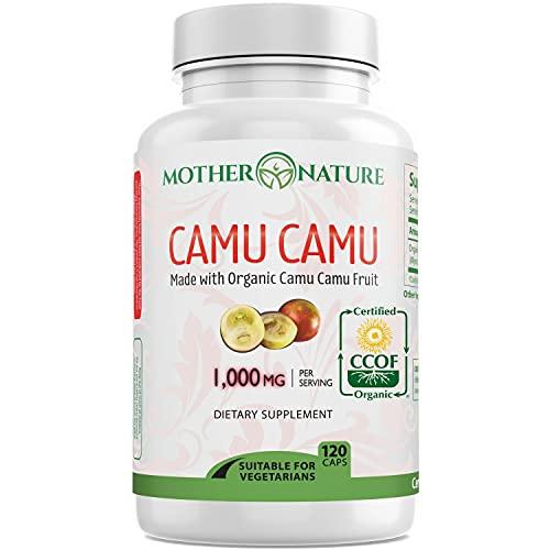 Organic Camu Camu Berry Capsules - Packed with Natural Vitamin C, Antioxidants (120 Capsules) - Raw Organic Antioxidant Superfood - Immune Support Booster & Anti Aging, Non-GMO, Gluten-Free & Vegan