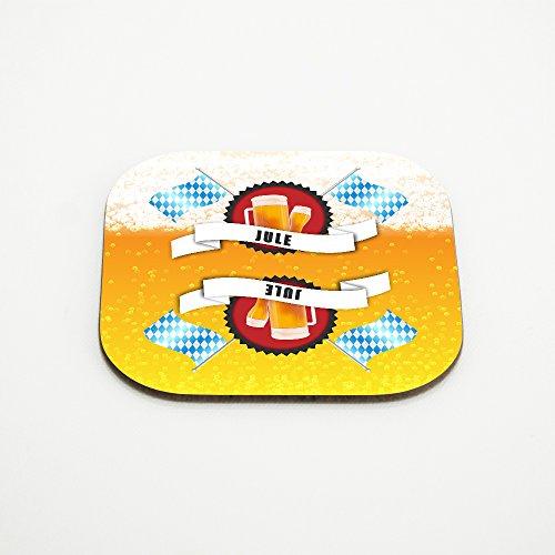 Untersetzer für Bier-Gläser mit Namen Jule und schönem Bier-Motiv mit weiss-blauen Flaggen