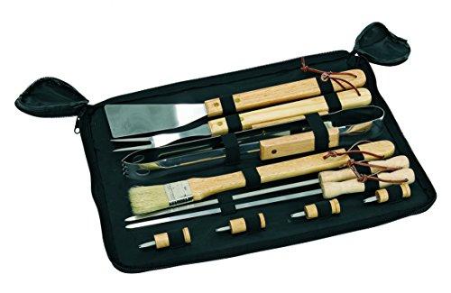 Grillbesteck Edelstahl 11 teilig Grillset 43 x 33,5 cm BBQ Besteck Grillzubehör Grilzange und vieles mehr enthalten