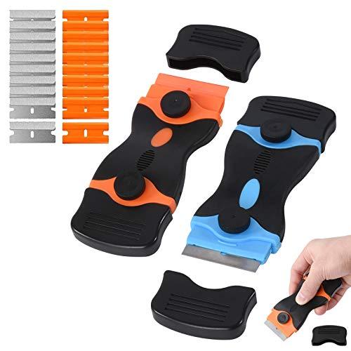 2pcs Rascador con 10 Cuchillas de Plástico y 10 Cuchillas de Acero Inoxidable, Raspador de Vidrio de Cocina para Limpiador para Cerámicas y Placas de Inducción