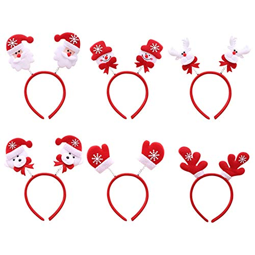 ShunFuET Christmas Headbands, 6 Pack LED Light Cute Hair Hoops Christmas Toys Headbands Santa Headbands Reindeer Antlers Headband for Cosplay or Christmas Party Supplies Kid Adult Women Red