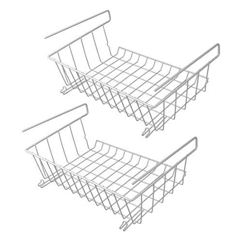 Ensemble de 2 paniers de rangement sous tablette | Étagères de rangement en fil métallique | Stockage de bureau | Organisateurs de cuisine | M&W