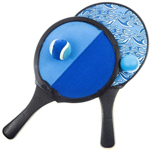 Klettball-Spiel & Tischtennis 2-in-1-Set | Schläger inkl. 2 Bälle | Klett-Ballspiel f. Kinder & Erwachsene | Hochwertiges Fangball-Spiel ideal als Spielzeug & Beschäftigung für Draussen im Garten
