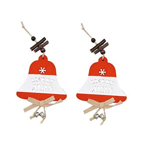 KESYOO 2 peças de pingentes pequenos de Natal de madeira, árvore de Natal, floco de neve, alce e sino, decoração de pendurar mini desenho de Natal para tetos, quintal, varanda, janela, decoração de sino