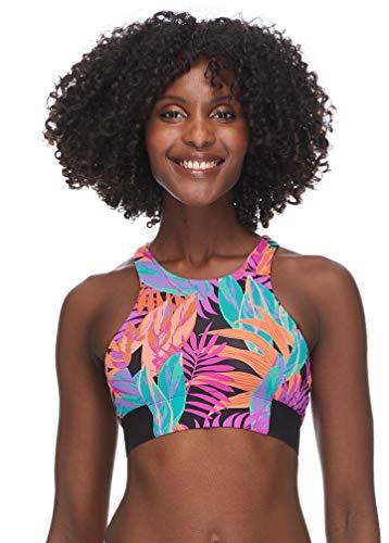 Skye Women's Anita Sporty Crop Bikini Top Swimsuit, Borneo Floral Print, Medium