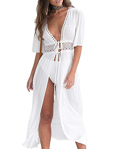 AGQT Damen Strandkleid Cover Up weiß Sommer Kimono Spitze Maxi Boho Cardigan Sexy Spitze Badeanzug Damen Chiffon Bikini Strandponcho Blusen Beachwear Kleid, S