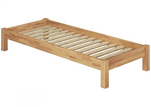 Erst-Holz® Einzelbett in Überlänge 120x220 Buche-Bettgestell mit Rollrost 60.84-12-220