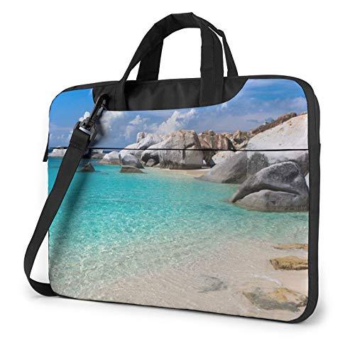 Stones Blue Sea Ocean Sunrise Mountain Laptop Bag Messenger Bag Briefcase Satchel Shoulder Crossbody Sling Working Bag 15.6 Inch