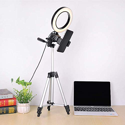"""WongPing 5.7"""" Ring Light with Tripod Stand for YouTube Video Selfie Live Stream and Makeup Dimmable LED Camera Light with Cellphone Holder Desktop 64 Led Lamp"""