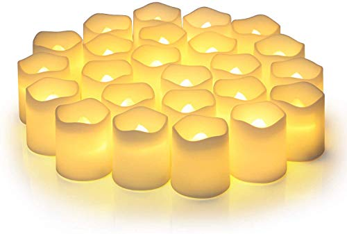 Votive Candles,Votive Flameless Candles,Pack of 24,Flameless Votive Candles Flickering,Tea Light Candles Votive Led Candles in Warm White and Wave Open
