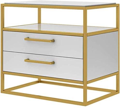 HTL Práctico archivador, mesita de noche, mesita de noche con cajones, marco de metal dorado, mesita de noche, con 2 cajones, cómoda para dormitorio, mesa auxiliar, color blanco, 45 x 40 x 50 cm