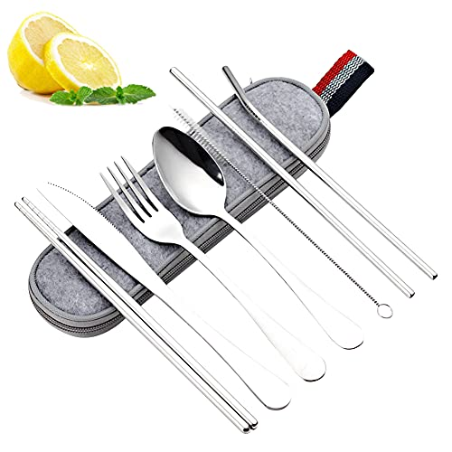 Outdoor Travel Cutlery Stainless Steel 7-Piece Cutlery Knife, Fork, Spoon, Chopsticks, Straw, Cleaning Brush, Camping Cutlery with Oxford Bag for Outdoor Use Easy to Carry