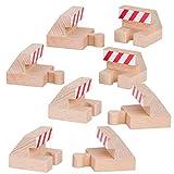 Orbrium Toys Track End Bumper Buffer Stop Set Wooden Railway Fits Thomas Brio Chuggington Melissa Doug Imaginarium ,4-Pieces (Pack of 2)