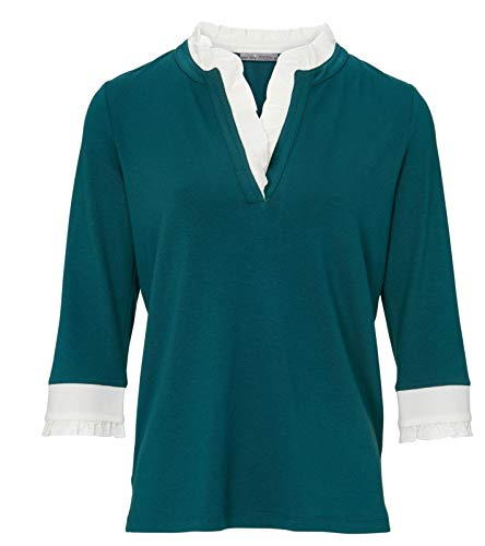 Heine Shirt Jersey-Bluse figurbetonte Damen Rüschen-Bluse mit 3/4 Arm Freizeit-Shirt Sommer-Shirt Grün/Weiß, Größe:42