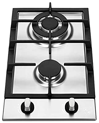 "K&H 2 Burner 12"" NATURAL Gas Stainless Steel Cast Iron Cooktop 2-SSW"