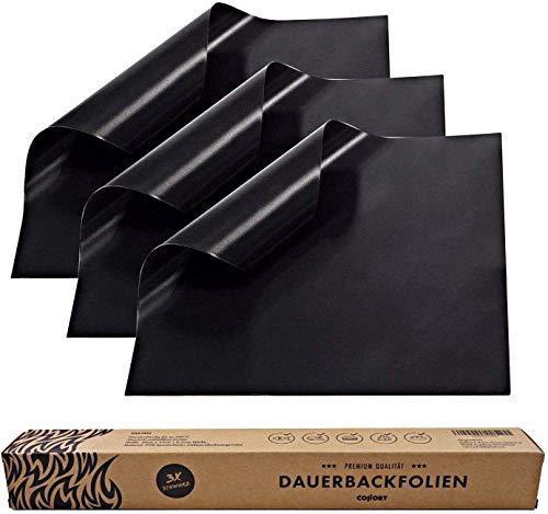 Collory Premium Dauerbackfolie (3er Set), Backpapier wiederverwendbar, Backfolie schwarz, Backunterlage Teflon antihaftend, Dauer- Backmatte, Dörrfolie, Lebensmittelecht BPA-Frei, 0,24mm DICK, 40x33cm