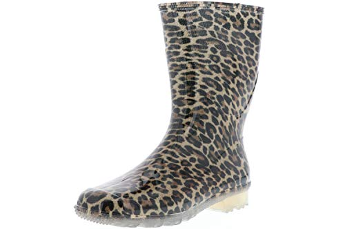 G&G Damen wasserdichte Gummistiefel Regenstiefeletten Leopardenmuster Mehrfarbig, Größe:39, Farbe:Mehrfarbig