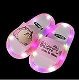 Perferct Zapatillas de casa para Mujer Cerradas,Niños LED LED Luminoso Jelly Jelly Girls Slippers PVC Cartoon Smile Beach Sandals Niños Home Chrysanthemum Patrón-Rosa Dinosaurio_33