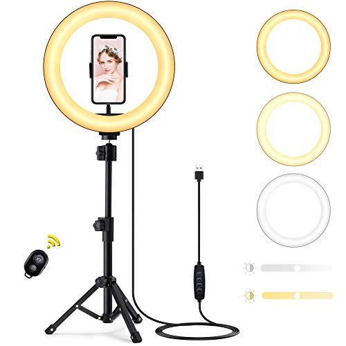 10' Ring Light, Techvilla Luce ad Anello LED con Treppiede e Telecomando Bluetooth, 3 Modalità Colore e 10 Luminosità Dimmerabile per YouTube, Tik Tok, Live Streaming, Trucco, Fotografia, Selfie
