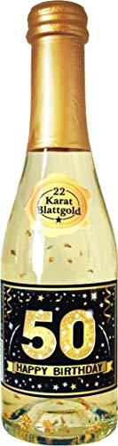 AV Andrea Verlag Pfeif auf's Alter 50 im Geschenke Set für Frauen zum Geburtstag mit Piccolo 22 Karat Blattgold Gold schwarz (Piccolo HB Gold 50 56014)
