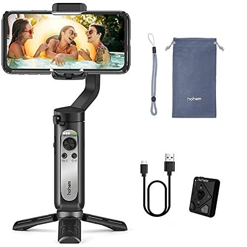 hohem iSteady X2-3-Axis - Estabilizador Plegable para Smartphone con Mando a Distancia Tipo C, Carga inversa Compatible con iPhone 12 11 Pro MAX Samsung S20 para Vlog Youtube Live Video Record