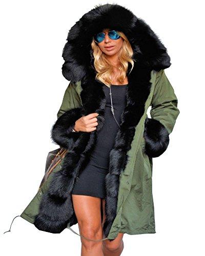 Roiii Frauen Winter warme Dicke Kunstpelz mit Kapuze Parka Fleece Lange Jacke Overcoat Größe 36-44-50