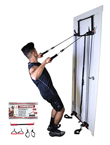 Tower 200, Complete Gym, Door, Gym, Body Building, Workout Equipment Doorway Fitness, Exercise Bands, Resistance Bands Set Men Weight Loss, Body Tower, x Factor, Anti Aging, Women, Free Straight bar
