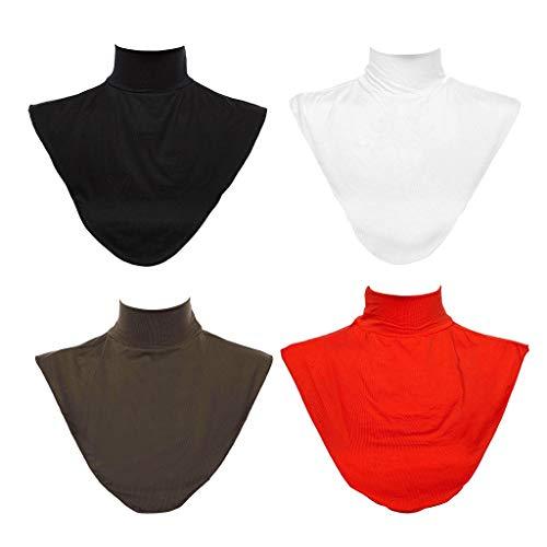 dailymall 4er/Set Fashion Krageneinsatz Rollkragen Stehkragen abnehmbare Falscher Kragen Hälfte für muslimische Frauen