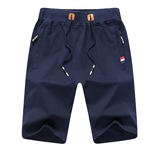 ZOXOZ Kurze Hosen Herren Shorts Sommer Jogginghose Kurz Baumwolle Gym Sweat Sport Fitness Shorts mit Reißverschluss Elastische Taille Blau XL