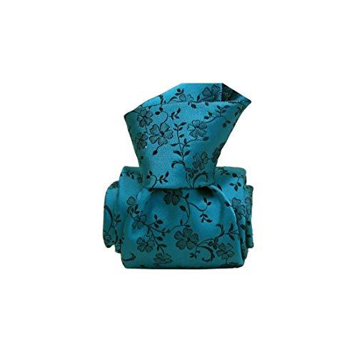 Segni et Disegni. Cravate artisanale. Lugo, Soie. Bleu, Paisley. Fabriqué en Italie.