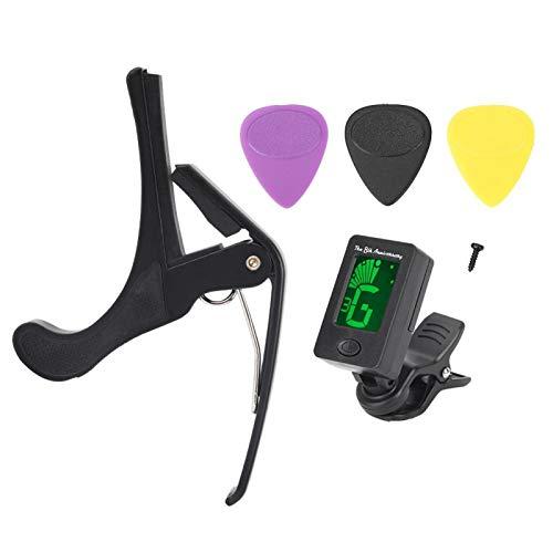ギターチューナー、ユニバーサルカポギターカポ、コントロールしやすい亜鉛合金人間工学に基づいて設計されたホームフォークギター用エレクトリックギタークラシックギター
