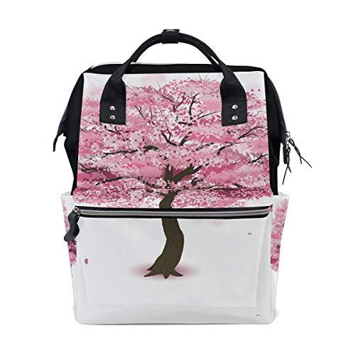 Sac à langer à grande capacité pour maman et maman - Rose - Sakura Tree - Sac à dos de voyage élégant multifonction - Imperméable - Pour maman et papa