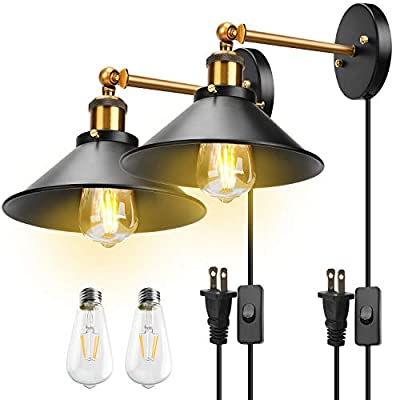 Plug in Wall Sconces 2-Pack JACKYLED UL Wall Mounted Industrial Vintage Wall Lamp Fixture Simplicity Bronze Finish Swing Arm Wall Lights (Edison Light Bulbs Included)