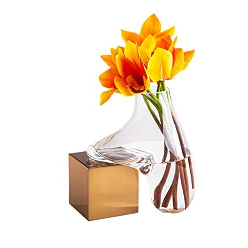 ZANZAN Floreros creativos floreros de metal de moda florero de escritorio contenedor de flores de salón oficina boda decoración del hogar (bronce) florero decoración