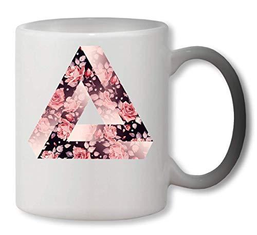 KRISSY Floral Rose Triangle Illuminati Eye 3D Heat Mug Color Changing Cup Farbwechsel Tasse
