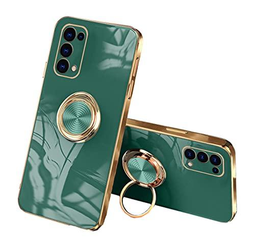 Coque Compatible avec Oppo Find X3 Lite Silicone avec Anneau Etui Oppo Find X3 Lite Antichoc Anti-Rayures Case Protection (Vert Foncé, Oppo Find X3 Lite)