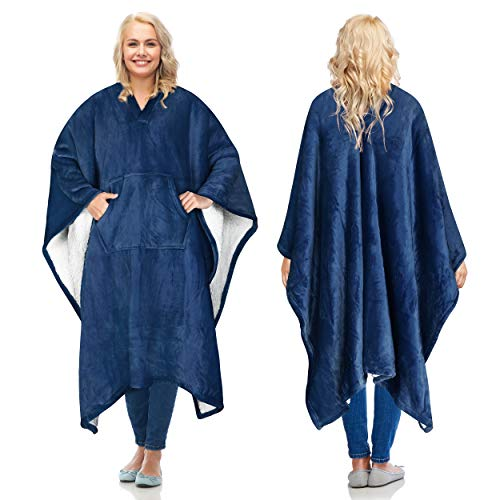 Catalonia Sherpa Wearable Blanket Poncho for Adult Women Men,Wrap Blanket Cape with Pocket,Warm,Soft,Cozy,Snuggly,Comfort Gift,No Sleeves,Navy