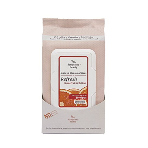 Symphony Beauty Makeup Cleansing Wipes, Refresh-Grapefruit and Retinol, 60 Wipes
