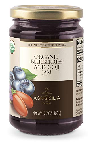 (Pack of 6 JARS) USDA Organic Blueberry and Goji Jam 12.7oz.