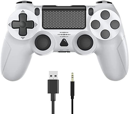 YTEAM Wireless Controller für PS4, PS4 Wireless Game Controller mit Dual Vibration/6-Achsen Gyro Sensor/Audio-Funktion, Controller Joystick Gamepad für PS4/Slim/Pro Console (Weiß)