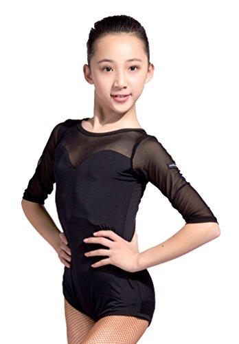 GD1014 kid latin modern ballet ballroom party dance professioneel doorschijnend garen/kant verbonden design turnpakje voor meisje
