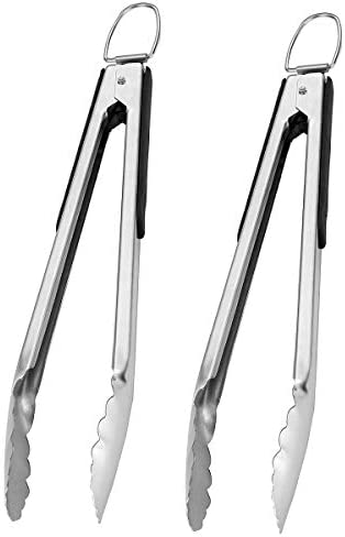 GRILLJOY 2PC Heavy Duty Stainless Steel Locking Kitchen Tongs Set 14 4IN Non slip Cooking Tongs product image