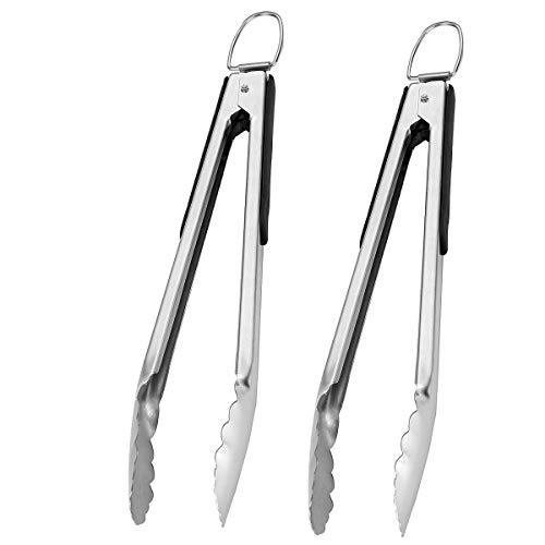GRILLJOY 2PC Heavy Duty Stainless Steel Locking Kitchen Tongs Set – 14.4IN Non-slip Cooking Tongs Set for Grabbing, Great for Cooking/Grill - Set of 2 Sturdy Tongs for Man's gift and Christmas gifts Alabama