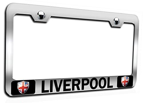 Makoroni - Liverpool British England Ch Steel Auto SUV License Plate Frame, License Tag Holder