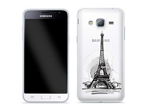etuo Custodia per Samsung Galaxy J3 (2016) – Custodia Crystal Design – Parigi – Custodia protettiva per cellulare