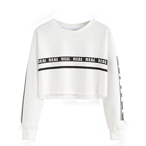 Ulanda Damen Frauen Teenager Mädchen Langarmshirt Pulli Pullover Sweatshirt Crop Top Langarm REAL Streetwear Tshirt Hemd Oberteile Tops Bluse Sale (Weiß, S)