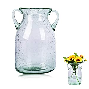 Silk Flower Arrangements QUECAOCF Elegant Flower Glass Vase with Handle, Handmade Double Ear Air Bubbles Glass Vase for Centerpiece Home and Wedding Indoor and Outdoor Decorative