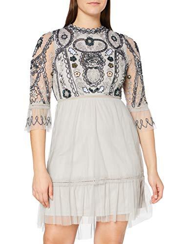 Frock and Frill Damen Isobelle Embellished Knee Length Dress Formales Abendkleid, Light Grey, Large