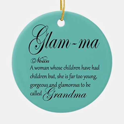 happygoluck1y Glam Ma Oma Definition Weihnachtsdekoration, Keramik, 7,6 cm, Weihnachtsbaum-Dekoration, Andenken,...